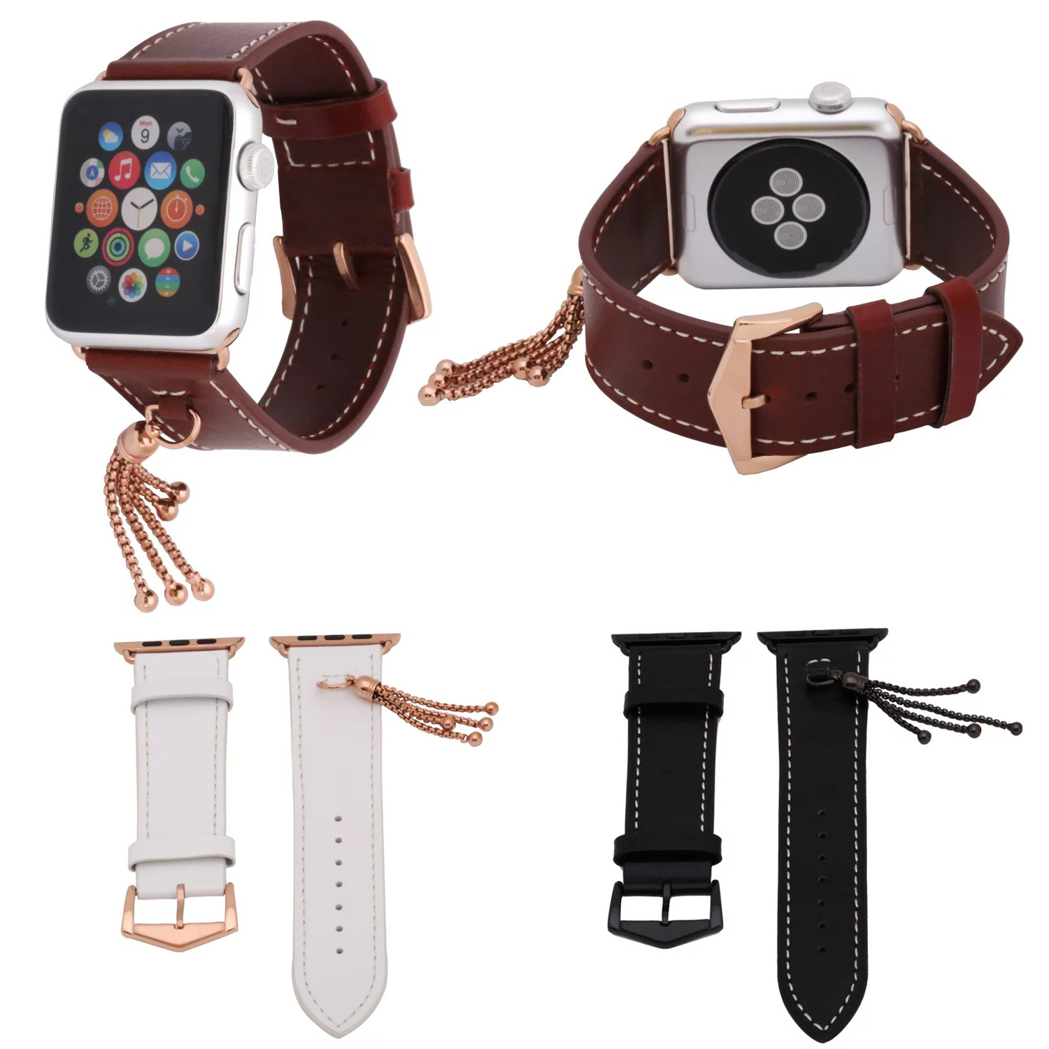Tassels Genuine Leather Band For iWatch 1st 2nd Cowhide Strap for Apple Watch Series 2 Watchband with Small Ornaments 42mm 38mm 750634 501 750634 001 motherboard for hp 15 g series laptop main board zs051 la a996p ddr3 100% tested