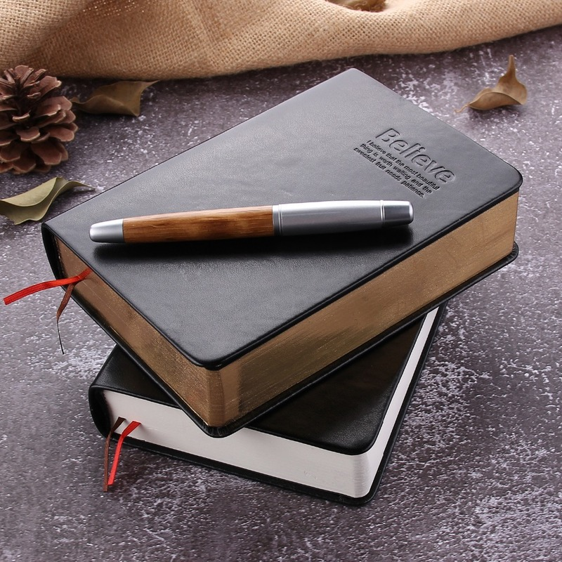 Vintage Black Leather Cover Bible Notebook Creative Luxury Believe Diary Journal Notepad Gift Office School Stationery Supplies