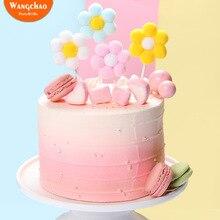 Beautiful Velvet Balls Flower Happy Birthday Cake Topper Lovely Girls Theme Decoration 4 Colors