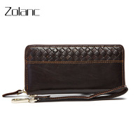 Zolanc Men Genuine Leather Wallet Hand Made Manual Weave Wallet Cowhide Hand Bag Business Male Clutch