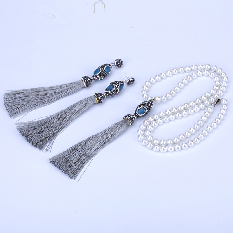 New Oval Blue Opal Connector Charms Extra Long Thick Grey Silk Tassel  Earring Pendant Pearl Chain Necklace Jewelry Set For Women-in Jewelry Sets  from ... 38662c7a434e
