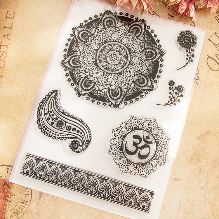 Clear Stamps Round lace pattern Scrapbook DIY Photo Album Account Transparent Silicone Rubber cartoon seal handwork art gift jwhcj vintage cat date wood roller stamps for children diy handmade scrapbook photo album diary book decoration students stamps