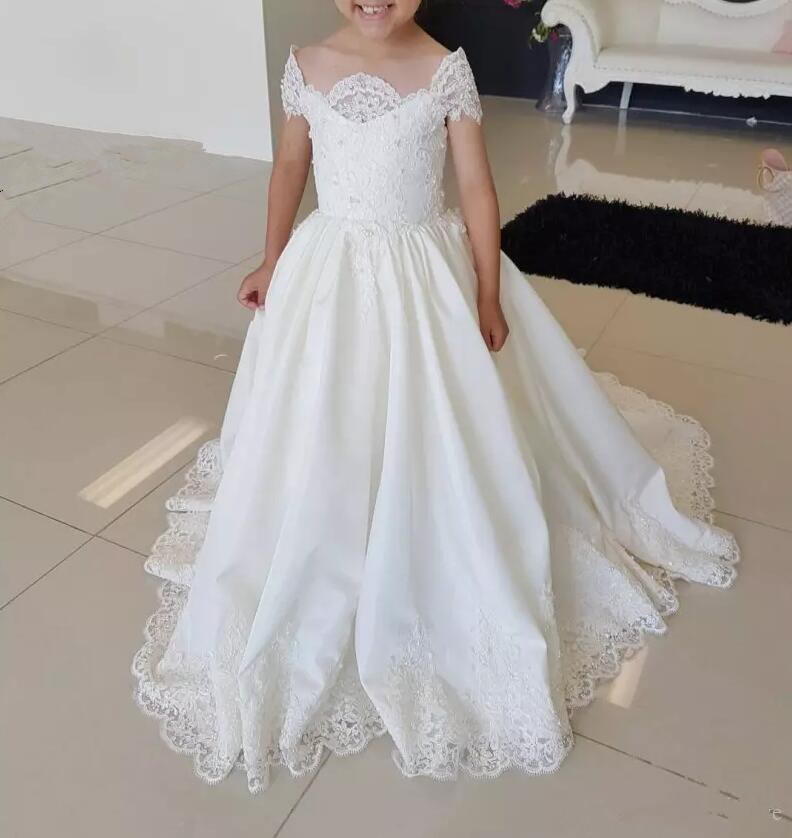 First Communion Gowns 2019 Lace satin   Flower     Girl     Dress   For Wedding Little Bride Princess Gowns With Train   Girls   Pageant   Dresses