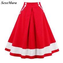 SexeMara новая высокая талия 1950 s 60 s рокабилли винтажная Юбка-миди, сделанная из хлопка, школьные юбки