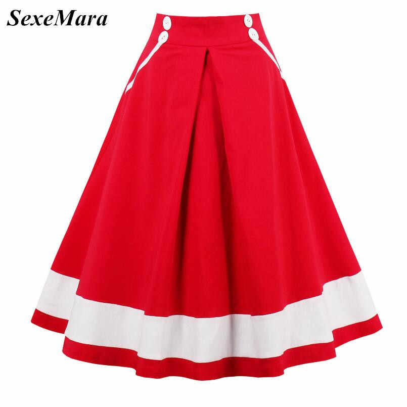 ca6df46b7274 2017 SexeMara New High Waist 1950s 60s Rockabilly Vintage Pin Up Full  circle Swing Skirts Made