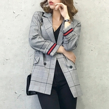2018 new Women Blazer Feminino Chic Plaid Blazers Casual Suit Jacket Business Office Ladies female