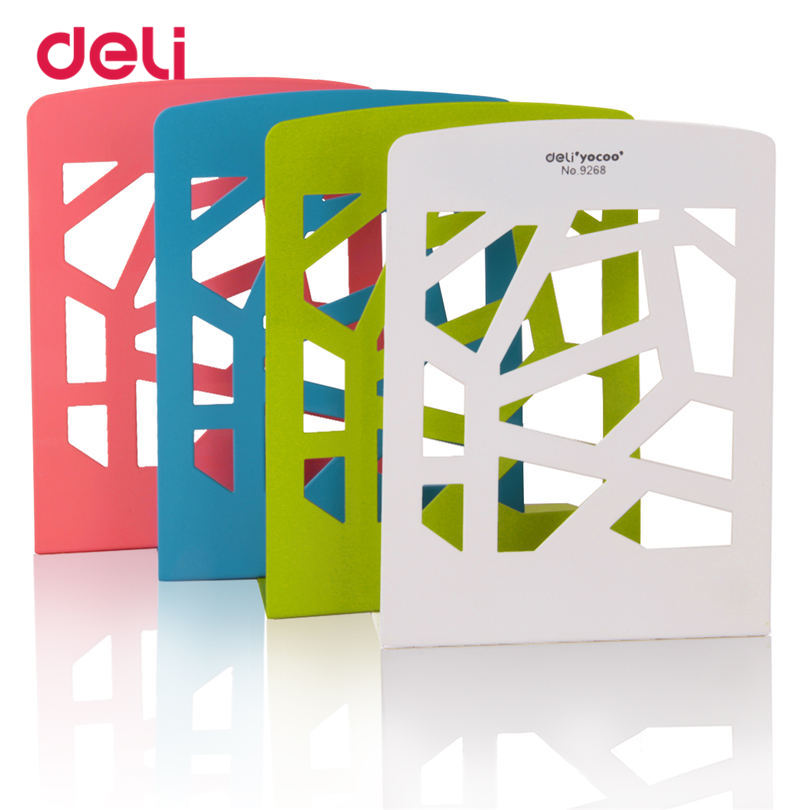 Deli Creative Iron Hollow Metal Bookends 2pieces a lot 450g 4 Colours Stand Home Office Desk Stationery Bookends цена