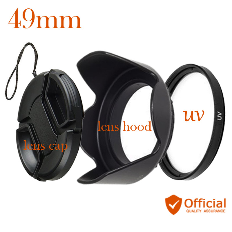 49mm UV Filter+Lens Cap + Flower Lens Hood for Canon Eos M M1 M2 M3 M5 M6 M10 With for Canon EF-M 15-45mm f/3.5-6.3 IS STM lens фотоаппарат canon eos m6 kit ef m 15 45 is stm silver
