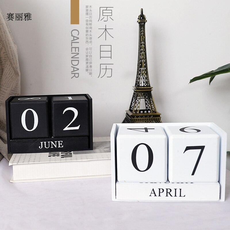 Creative Calendar Wood DIY Yearly Planner Calendar Desk Wooden Block Planner Permanent European Style Office Living Room Decor