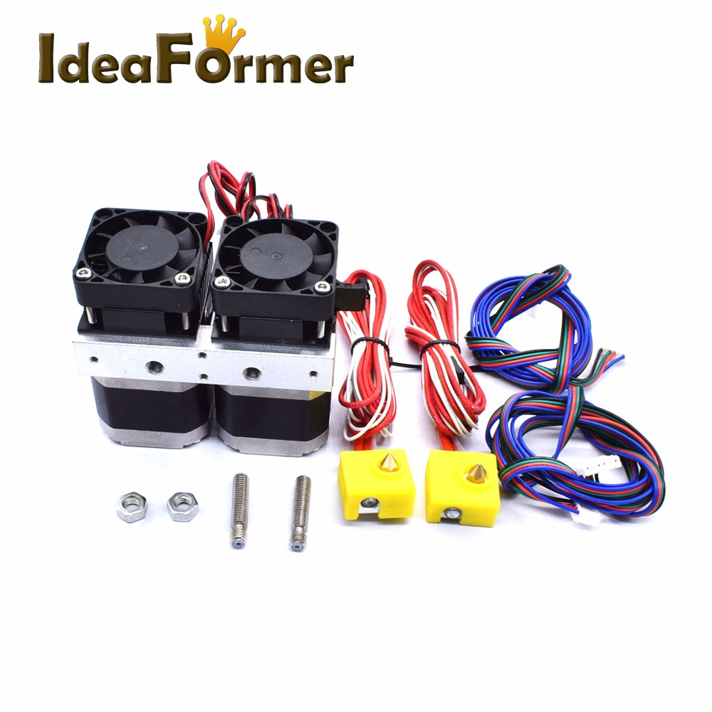 3D Printer Makerbot8 MK8 Dual Extruder Nozzle 0.2/0.3/0.4/0.5mm 12V/24V Dual Printer Head  for 1.75mm Filament with 6 pin-in 3D Printer Parts & Accessories from Computer & Office    1