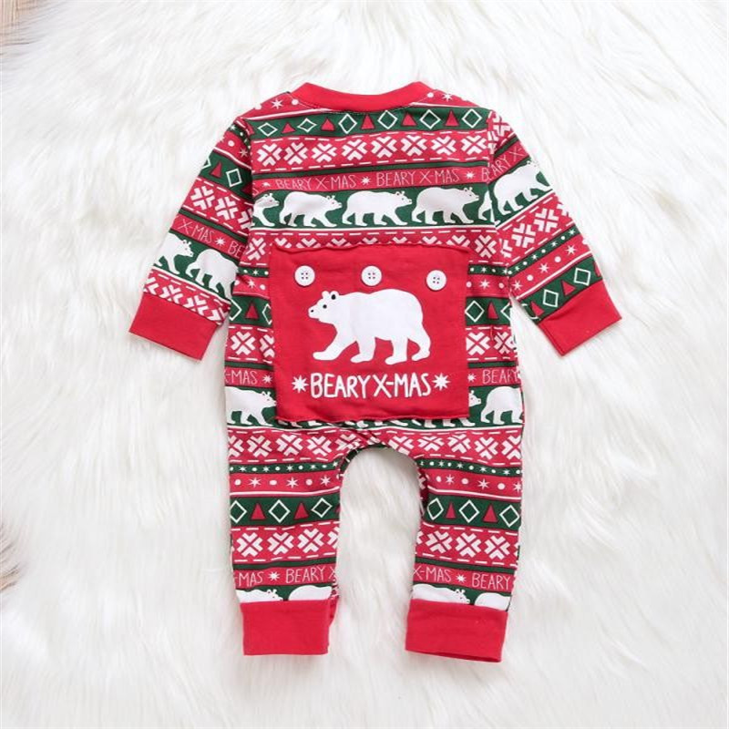 TELOTUNY Outfit Infant Baby Boys Girl Cartoon Bear Christmas XMAS Letter Romper Jumpsuit Outfits Baby Clothes Set Fashion NOV 7
