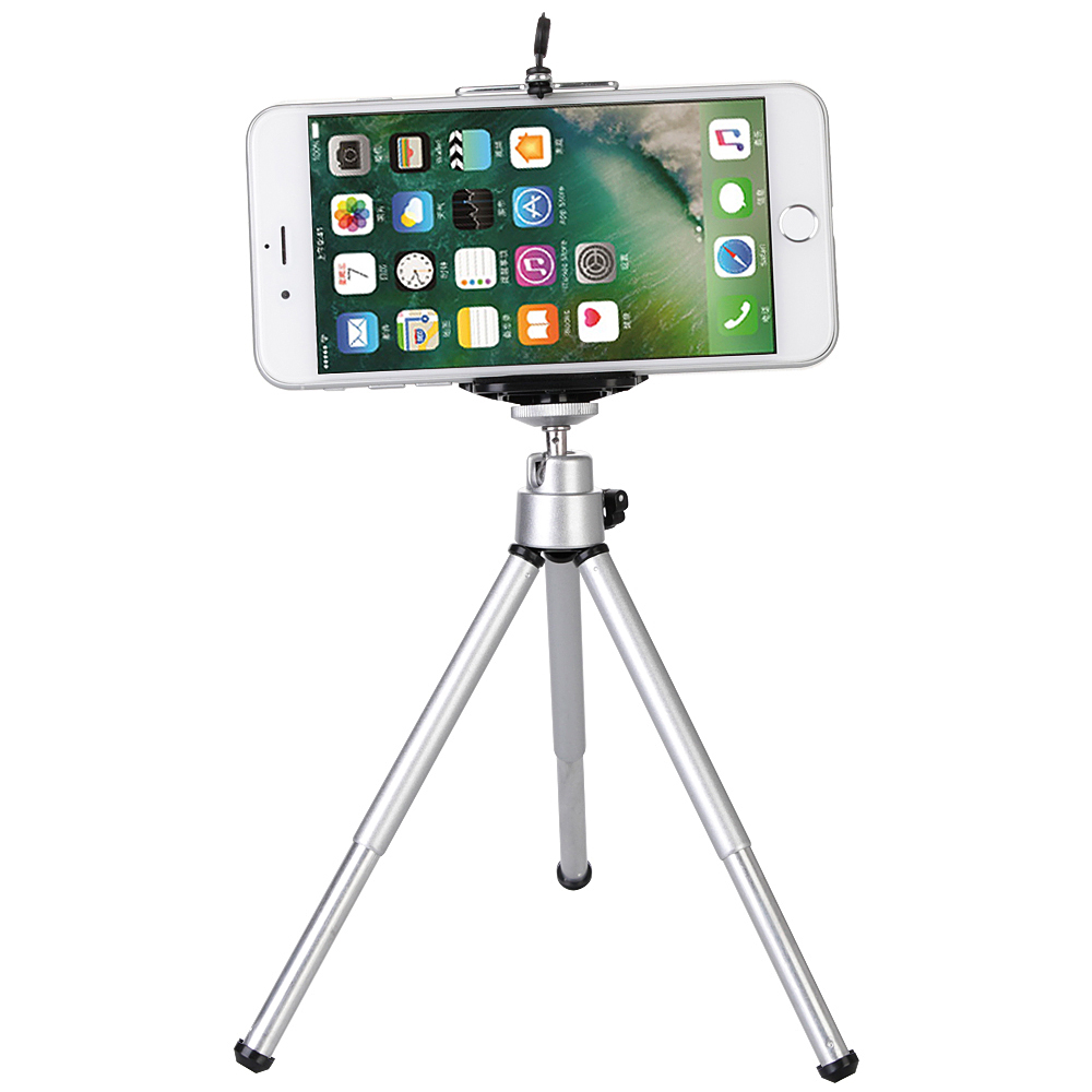 Universal Mini Tripod For Xiaomi iPhone 6 6s 7 8 Plus Samsung S7 S6 Edge S5 Note 5 4 With Cellphone Clip Aluminum все цены