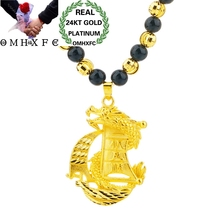 OMHXFC Wholesale European Fashion Hot Man Male Party Birthday Wedding Father Gift Dragon Boat 24KT Gold Pendant Necklace NL214