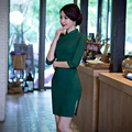 Бесплатная Доставка Половина Рукава Qipao Китайский Традиционный Одежда Зеленый Твердый Чонг-сэм Платье Для женщин Винтажное Платье