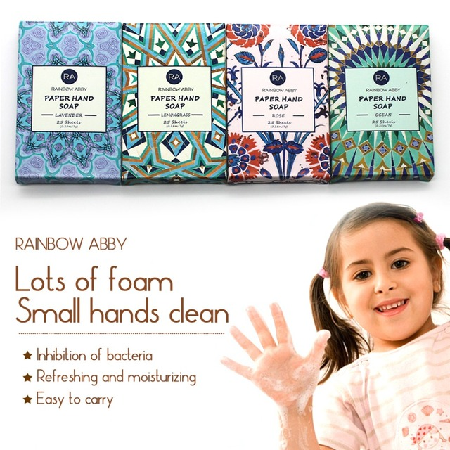 Outdoor Travel Soap Paper Washing Hand Bath Clean Scented Slice Sheets 25pcs Disposable Boxe Soap Portable Mini Paper Soap 5