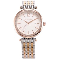 Taylor Cole Brand Women Bracelet Watches Auto Date Rose Gold Silver Stainless Steel Strap Lady Rhinestone