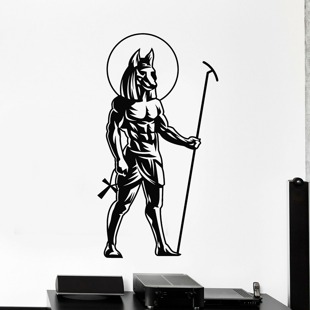 US $9 3 |Ancient Egyptian God Wall Decal for Bedroom Self Adhesive Vinyl  Anubis Statue Stickers Mural Home Decoration Living Room D692-in Wall