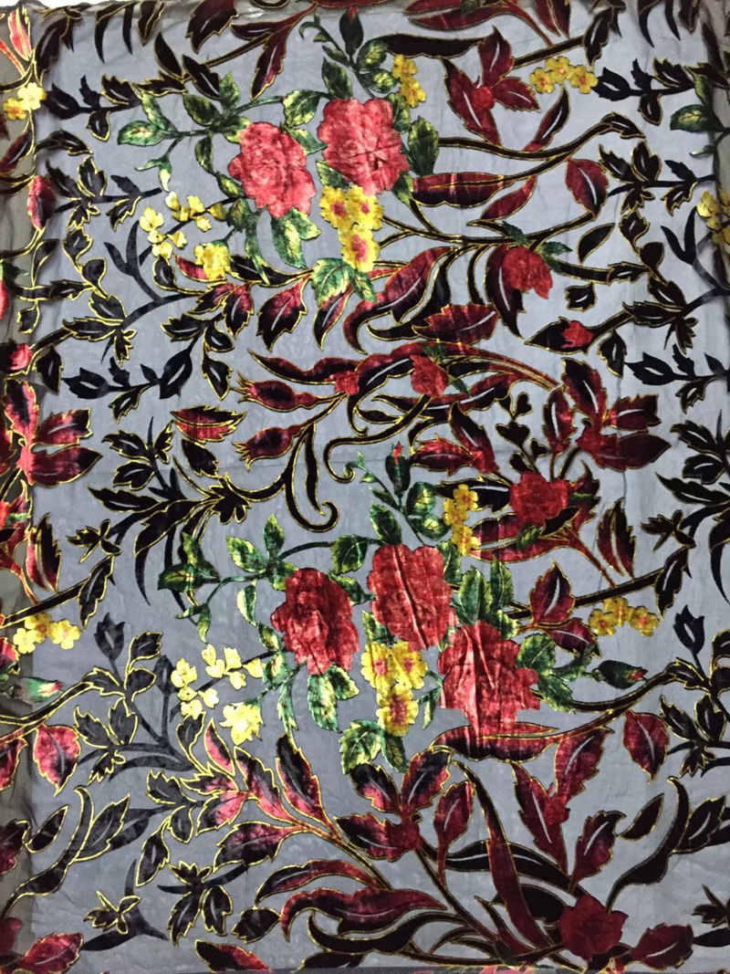 (5yards/pc) high quality transparent African silk velvet lace fabric smooth with gorgeous flowers pattern for making dress VLB93