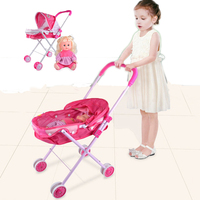 Simulation trolleys hign quality children's toy stroller with doll Children trolleys