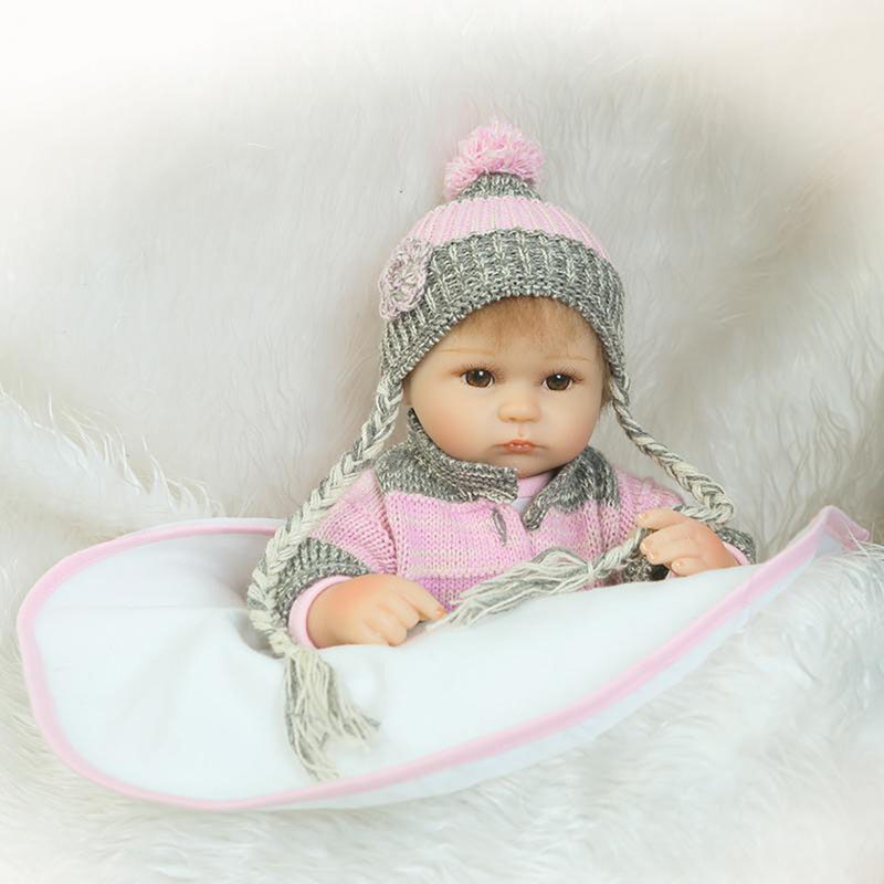 Wear Woolen Clothes Reborn Baby Dolls 17 Inch Soft Silicone Realistic Babies Doll Fashion Kids Baby Toy Birthday Christmas Gifts american girl doll clothes for 18 inch dolls beautiful toy dresses outfit set fashion dolls clothes doll accessories