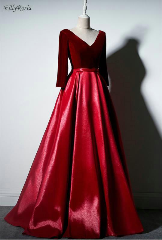 Бордовые Платья для особых случаев для свадебной вечеринки, атласные бархатные платья с длинными рукавами для матери невесты, vestido de festa longo