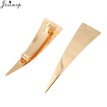 Jisensp New Lady Barrette Fashion Jewelry Women Gold/Silver Plated Metal Triangle Hair Clips Hairpins Holder Hair Accessories