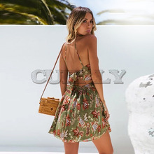 CUERLY summer beach mini dress woman floral spaghetti strap cross backless sexy print bodycoin vestidos fashion short L8