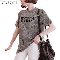 Nuevo Estilo Camisas de Las Mujeres 2017 Patrón de la Letra Del Verano de Seda Brillante Brillante Femenina Floja Larga Tops Estilo Coreano Ocasional Camisetas H9001