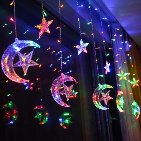 2 5m 138 led cortina estrela da lua luz da corda de fadas luz guirlanda