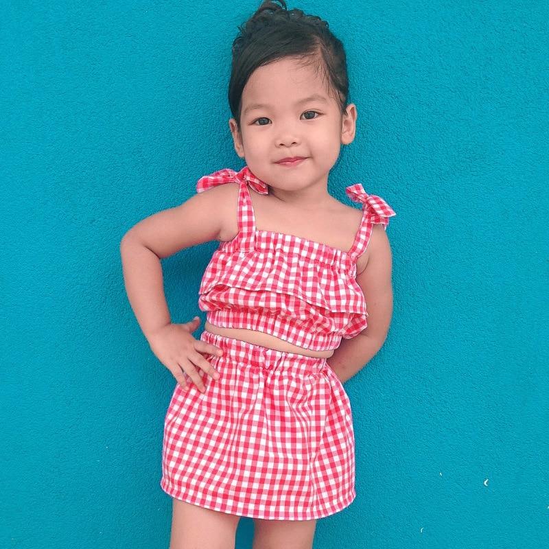 US Toddler Kids Baby Girls Off-Shoulder Plaids Tops Dress Skirt Summer Clothes