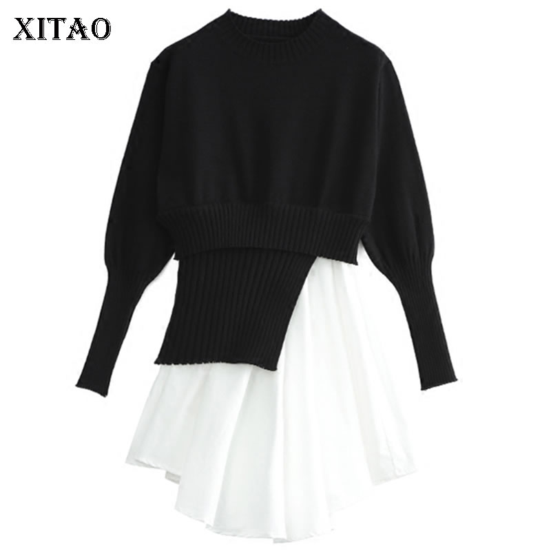 [XITAO] Europe Spring 2018 Fashion Women Contrast Color Patchwork Knitted Above Knee Full Sleeve O-Neck Irregular Dress LJT1381 2016 women s clothing fashion in europe and the atmosphere bohemia elasticity knitted cultivate one s morality dress