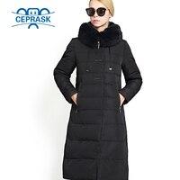 2017 Realmente de Pele de Casaco de Inverno das Mulheres Plus Size Longo Moletom Com Capuz Mulheres Quentes Jaqueta de Inverno Biológico-Fêmea Para Baixo Parkas 6XL CEPRASK