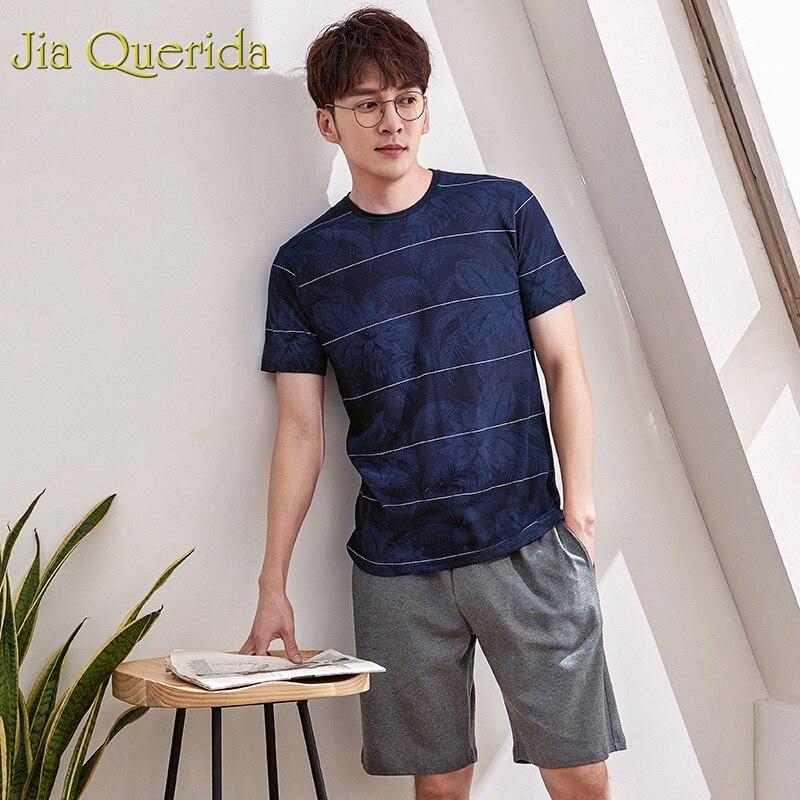 J&Q Pijamas Hombre 2019 New Male Summer Short Pj Set 100% Cotton Sleepwear Men Dark Veins Print High Quality Brand Pyjama Men