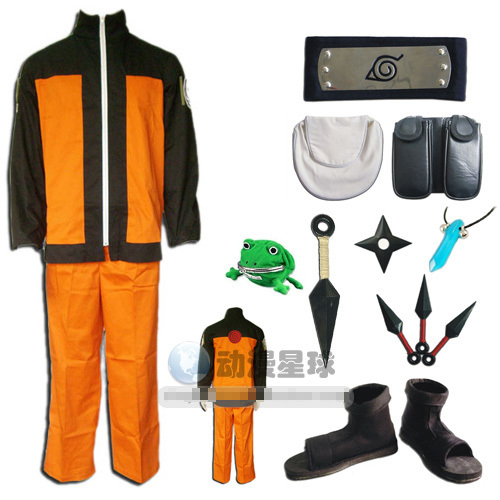 Uzumaki orange ninja cosplay costume ensemble complet comprend chaussures + kunai + bandeau + sac + grenouille cos Halloween costume