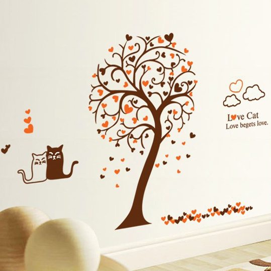 Buy 1 Get 1 Switch Sticker Diy Wall Art Cat Sticker Love Kitty Bedroom Decor Heart Tree Wall Stickers For Shelf Bedroom Kids In Wall Stickers From Home