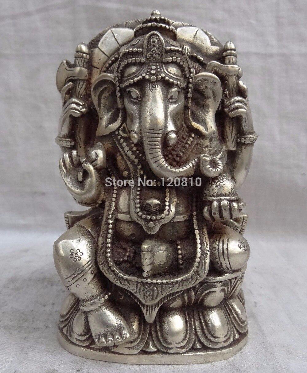6600020 Tibet argent Lotus 4 bras Ganapati Ganesh seigneur Ganesha bouddha souris Statue