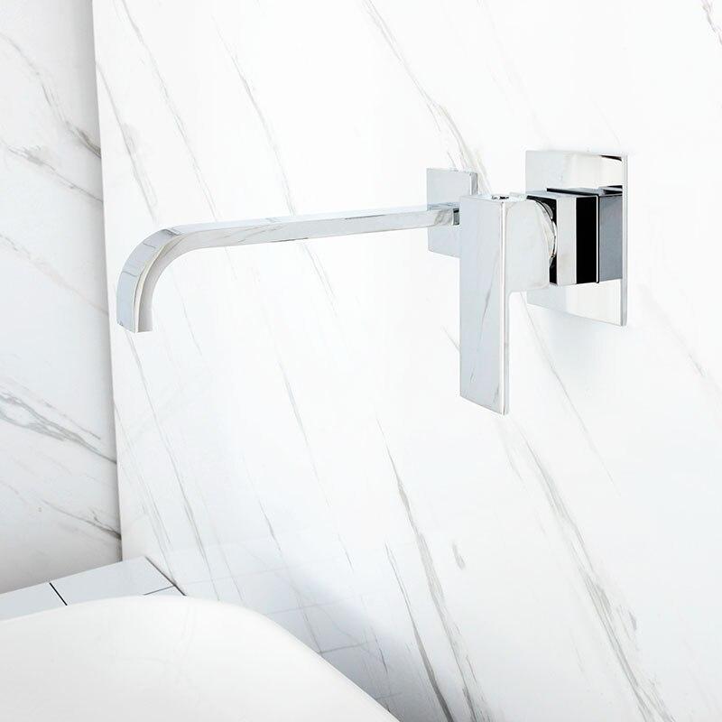 Mitigeur d'eau mural en laiton noir et Chrome mat pour salle de bain robinet mitigeur en laiton de qualité pour salle de bain robinet noir chaud et froid - 5