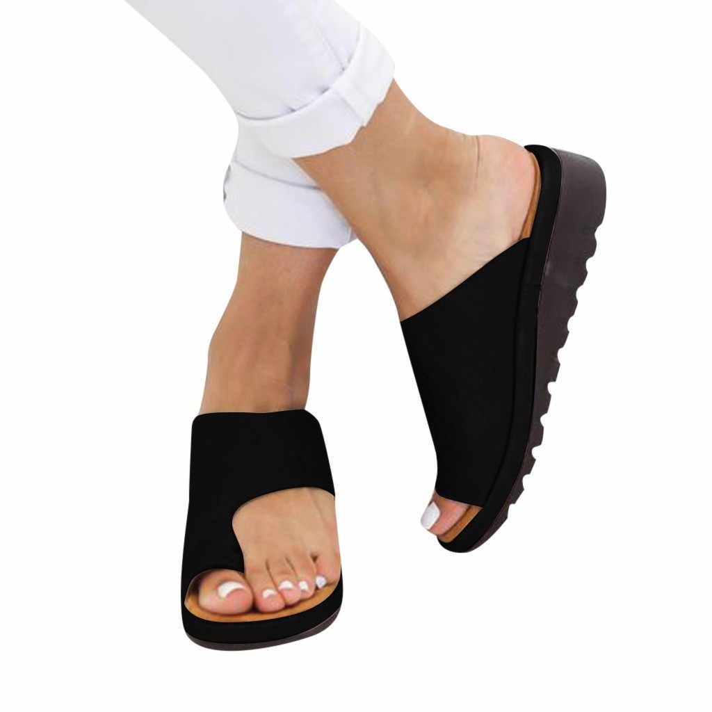 Frauen PU Leder Schuhe Bequeme Plattform Flache Sohle Damen Casual Weiche Big Toe Fuß Korrektur Sandale Orthopädische Bunion Corrector #3