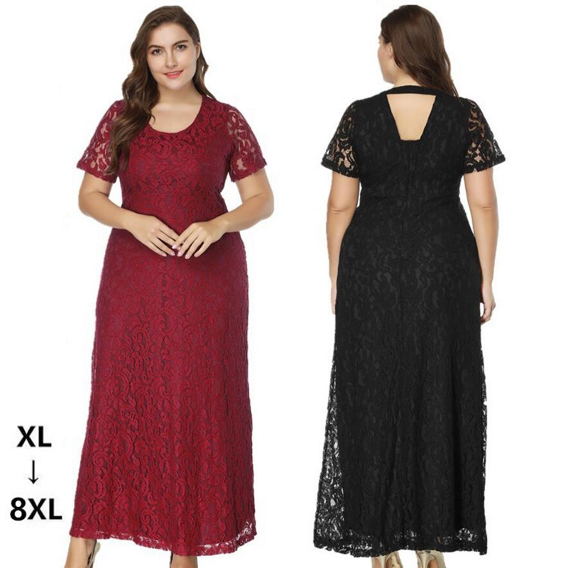 7XL 8XL Summer Dress Bohemian Womens Long short sleeves Solid lace Dress Slim Sleeveless Beach Dress For Female V-Neck 6XL 5XL