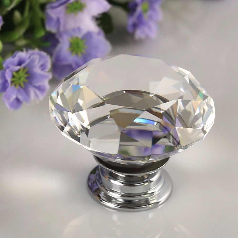 1 Uds. Cajón de puerta de vidrio Aleación de cristal Diamante de 30mm manillar Manual armario de manija a tracción perillas peso ligero