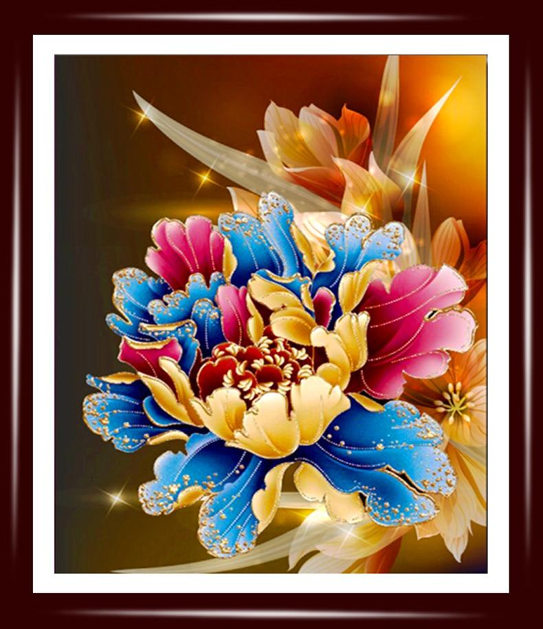 Baru mosaik penuh berlian persegi bordir manik-manik bunga peony - Seni, kerajinan dan menjahit