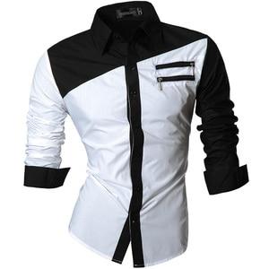 Image 5 - Jeansian גברים של שמלה מזדמן חולצות אופנה Desinger אופנתי ארוך שרוול Slim Fit 8371 Black2