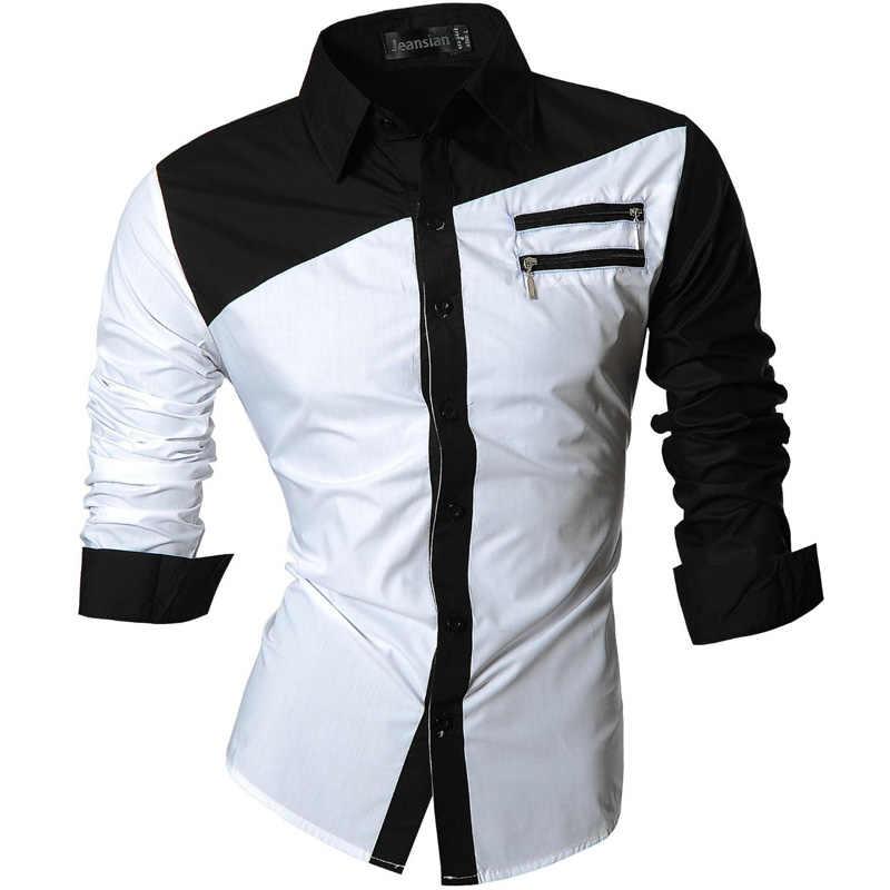 Jeansian Men's Casual Dress Shirts 패션 디자이너 세련된 긴 소매 슬림 피트 8371 Black2