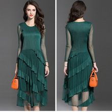 Miyak pleated chiffon dress 2019 spring and summer models large size solid color long-sleeved ruffled Vestidos party women