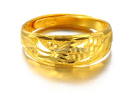 Authentic 24k Yellow Gold Ring/ Craved Dragon Ring/ 5.8g / Us Size 4 10