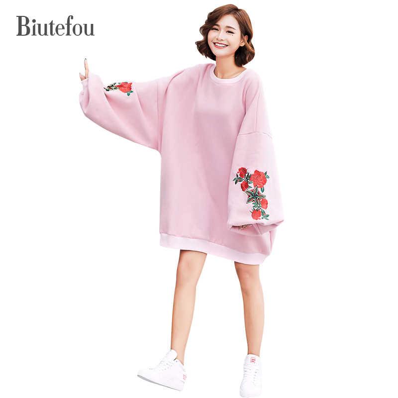 Новинка 2017 Осенние Пуловеры Вышивка свободно плюс размер кофты Женская мода