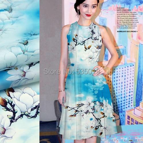 high quality  cheongsam material hanfu shirt elastic satin magnolia flowers printed silk fabric blue quilt cover baby fabric