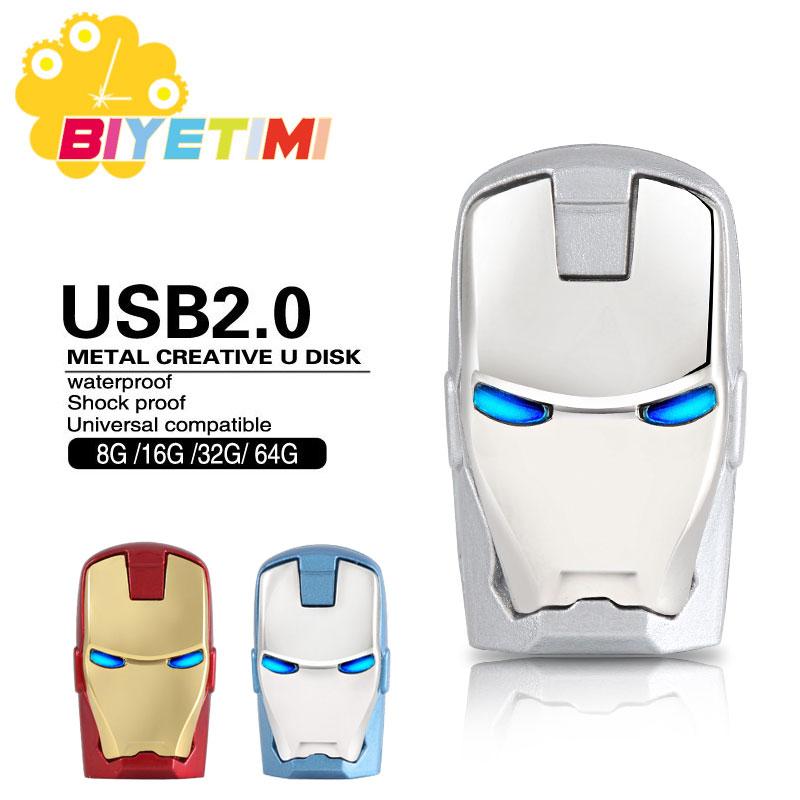 Biyetimi usb flash drive 8GB 16GB 64GB USB 2.0 pen drive Cartoon Iron man pendrive 32GB U disk High Speed usb stick|usb stick|usb 2.0 pen drive64gb usb 2.0 - AliExpress