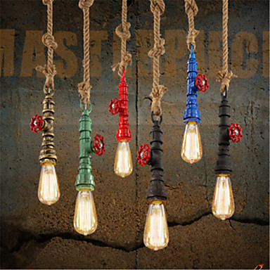 ФОТО Water Pipe Lamp Style Loft Industrial Pendant Lights Fixtures For Dinning Room Vintage Light Lamparas Handlamp