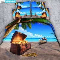 3d oil painting bed cover set 3/4pc twin full queen king size real sea boat beauty blue sky quilt cover+pillowcases home textile